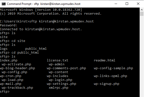 The next screen of the command line where you can see all folders and files inside the public_html folder.