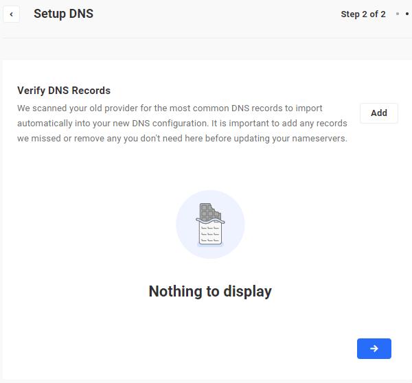 Setup DNS - Verify DNS Records screen.