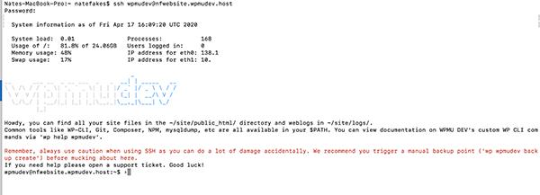 WPMU DEV login screen for SSH.