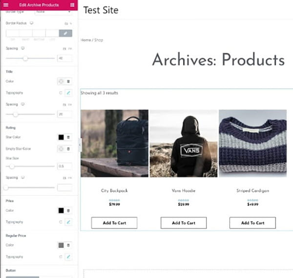Edit Archives Products.