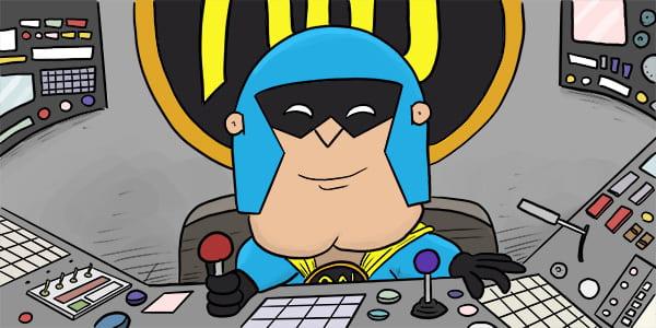 Cartoon of DevMan sitting at the controls