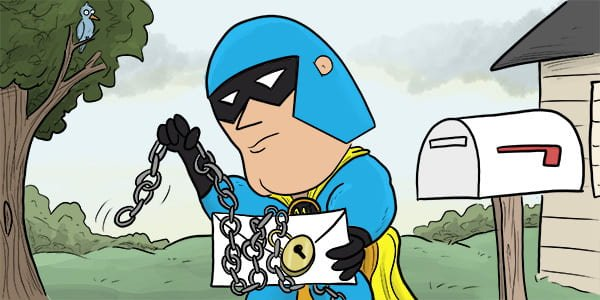 Cartoon of Devman putting chains and a padlock around a letter, about to post it.