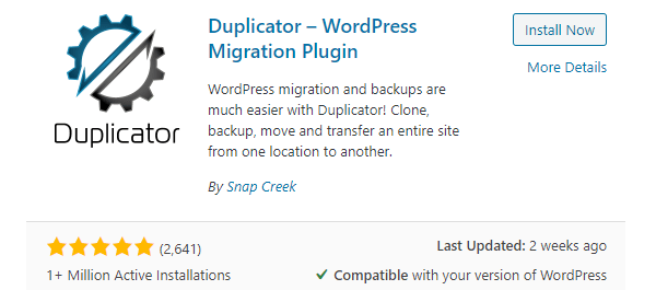 Screenshot from wordpress.org of the Duplicator plugin.