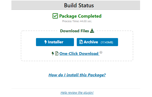 Screenshot showing the package completed screen from which you can download the files.