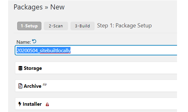 Screenshot of the new package screen where you can name your package.