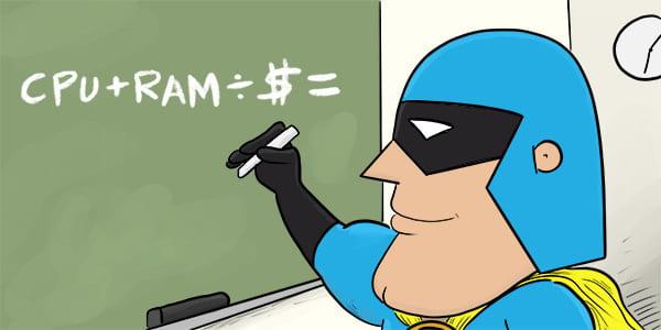 Cartoon of DevMan calculating Price to Specs ratio.