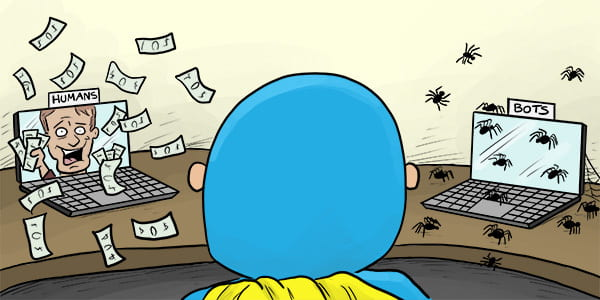 Cartoon of Devman staring at two laptops - one with human visitors ready to buy products, the other with spider bots.