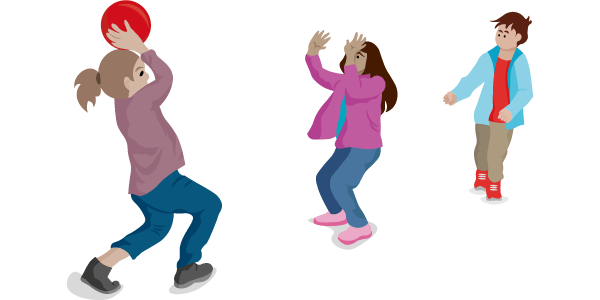 Image of three children playing the childhood game where the person in the middle tries to snatch the ball.