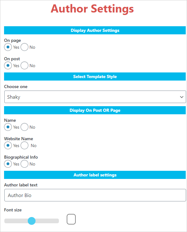 About Author Settings screen