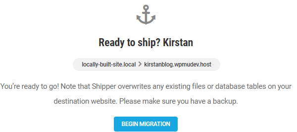 Screenshot of the screen where you need to click 'begin migration' to start the process.