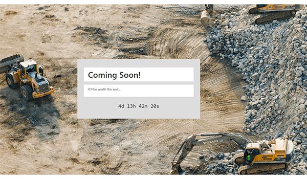 Screenshot of a custom coming soon page.