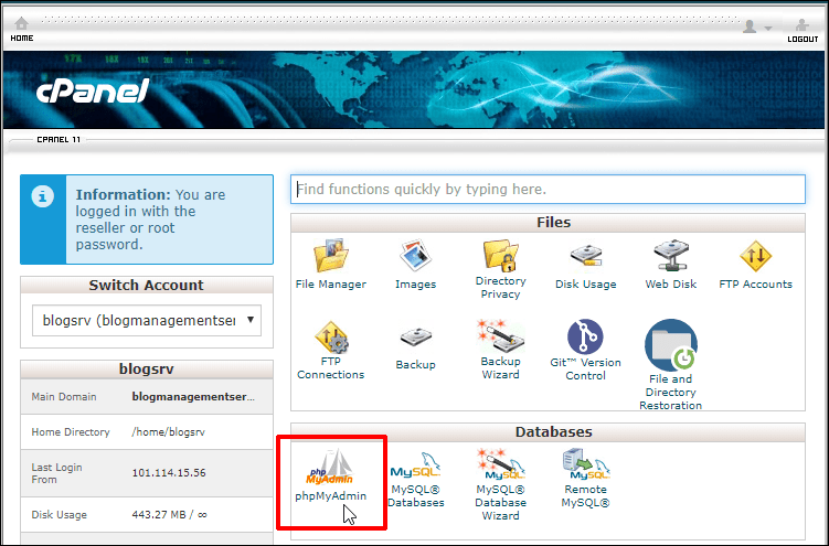 cPanel dashboard with phpMyAdmin highlighted.