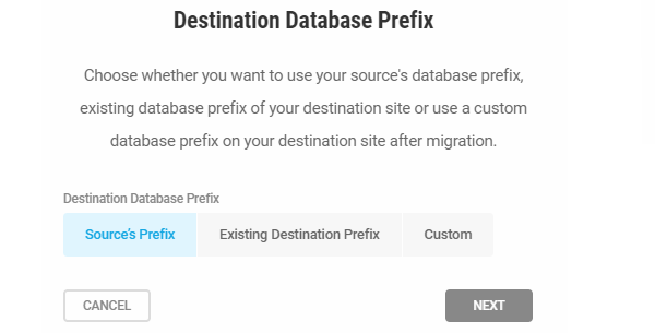 Screenshot showing the three ways you can name your database - with the source's prefix, existing destination prefix or custom.