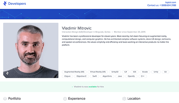 Toptal developer profile.