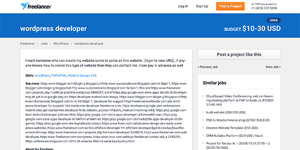 Example of a WordPress development job on Freelancer.