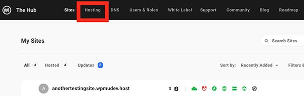 The hosting tab.