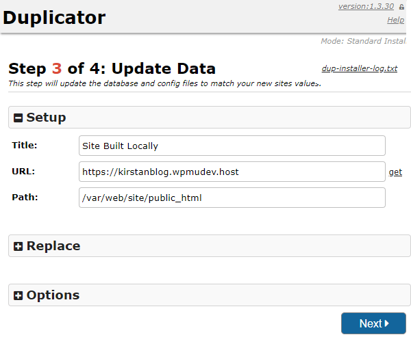 Screenshot of step three where you can rename your site.