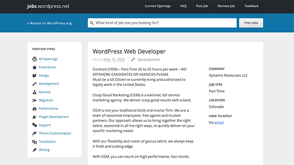 An example post for a WordPress web developer. As you can see, applicants apply by email in this case.