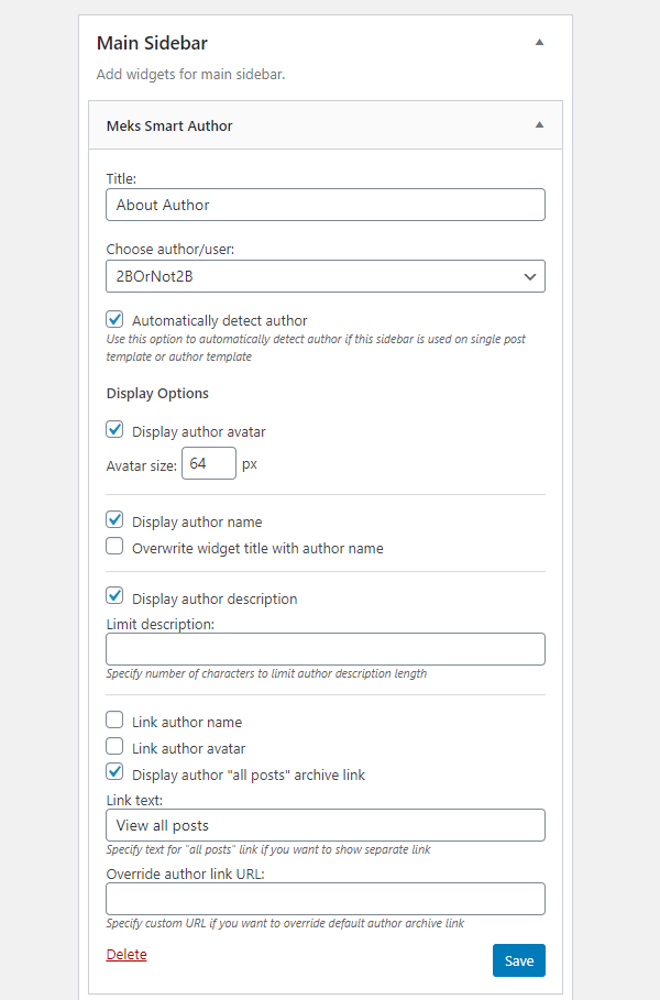 Meks Smart Author Widget settings.