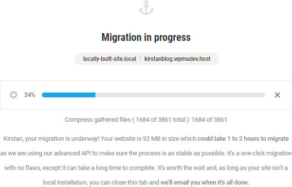 Screenshot showing the progress bar of the migration and an estimate of a total time of 1-2 hours.