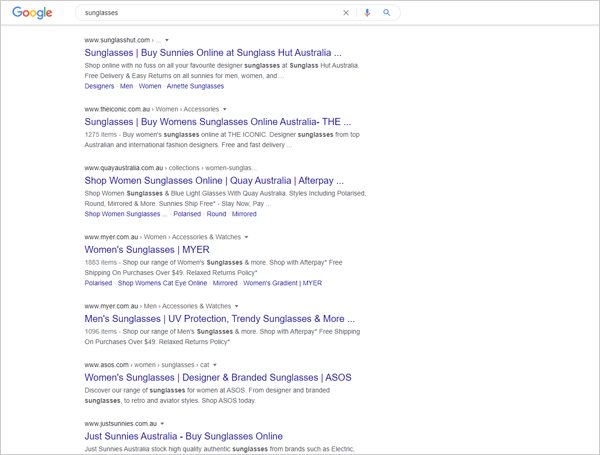 Organic search traffic results on Google.