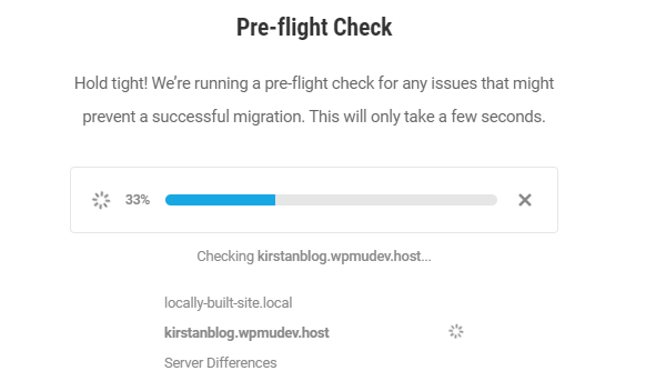 Screenshot of the pre-flight check, showing the progress bar as it checks your files to make sure everything is ready for the transfer.