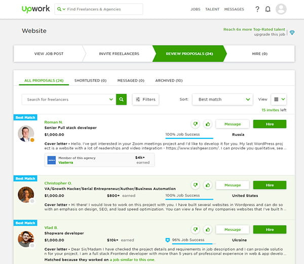 Proposals on Upwork.