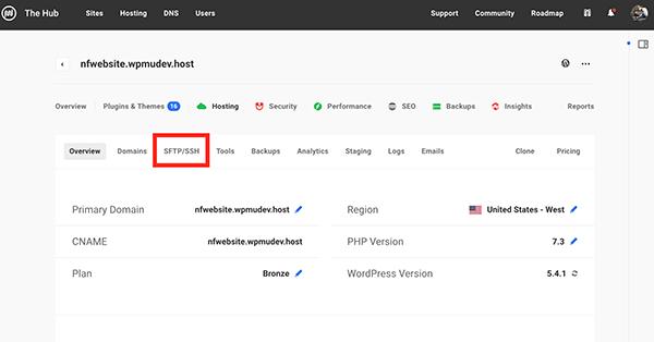 STFP/SSH tab.