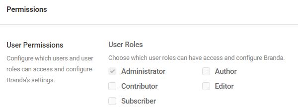 Screenshot of the user permissions menu