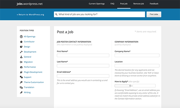 WordPress jobs posting a job.