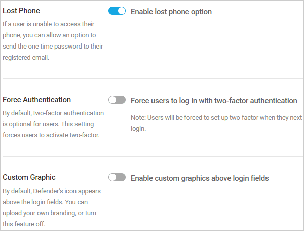 Lost Phone, Force Authentication, and Custom Graphic options.