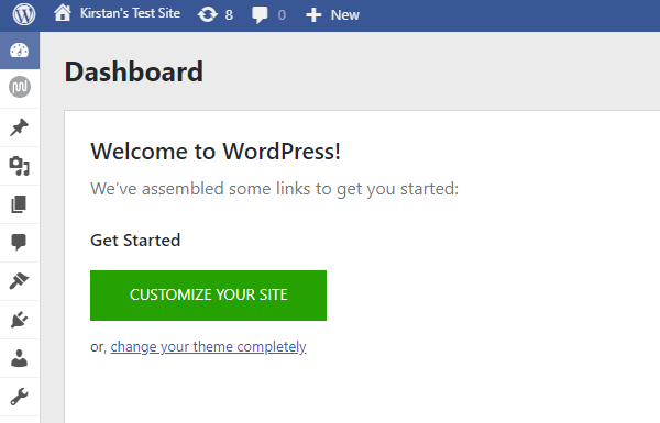Screenshot of the WordPress Dashboard with the Blue Admin plugin active showing a blue and white color scheme.