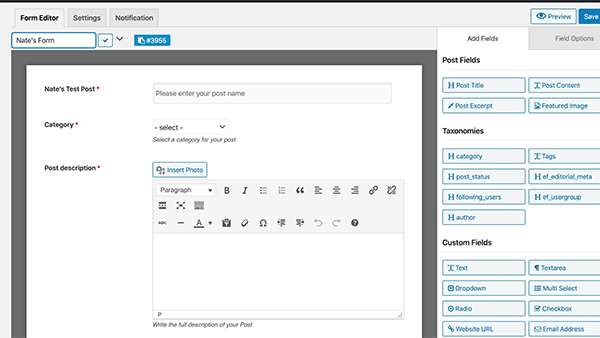 A custom form I created allowing users to create a post.