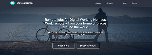 Working Nomad homepage.