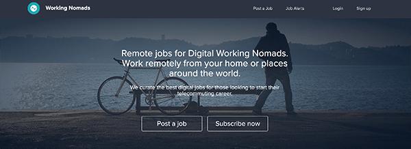 Working Nomad homepage.