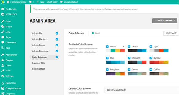 Screenshot of Branda's color schemes for the dashboard.