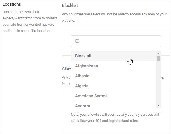 Defender Locations - GeoIP database dropdown menu