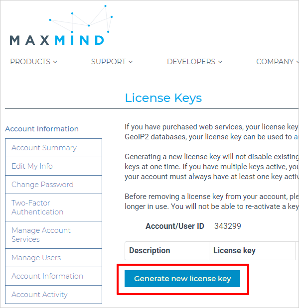 Maxmind - Generate license key