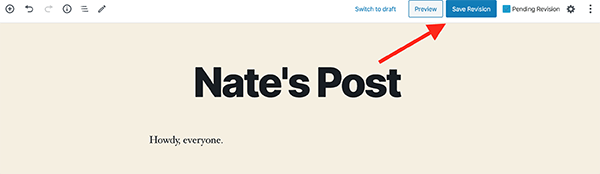 Where the Save Revision button is on a blog post.
