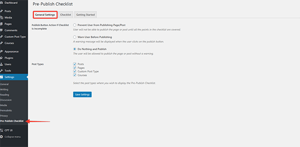 Pre-publish checklist settings.