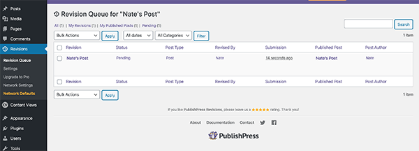 The revisions queue in PublishPress.