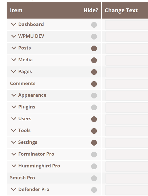 Screenshot of the list of items in the left hand sidebar from with the AGCA menu where you can remove items.