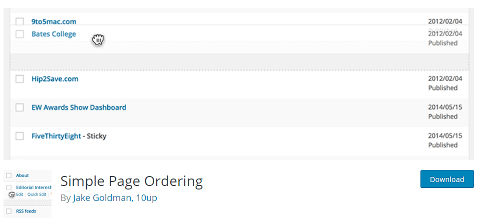 Screenshot of Simple Page Ordering from wordpress.org