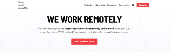 We Work Remotely homepage.