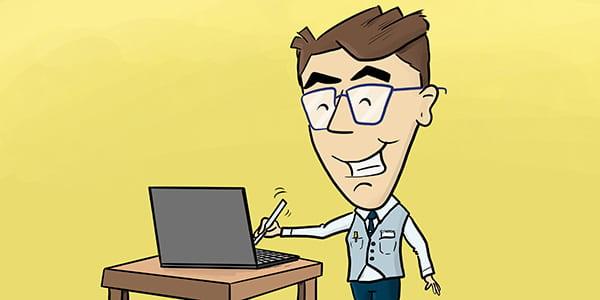 Forminator cartoon signing a doc.