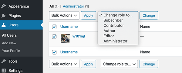The dropdown to change roles in WordPress' admin.