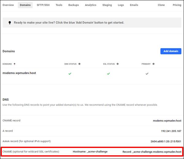 CNAME entry for Wildcard SSL DNS records.