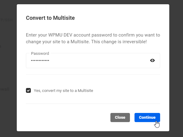 Convert to Multisite- Password confirmation screen.