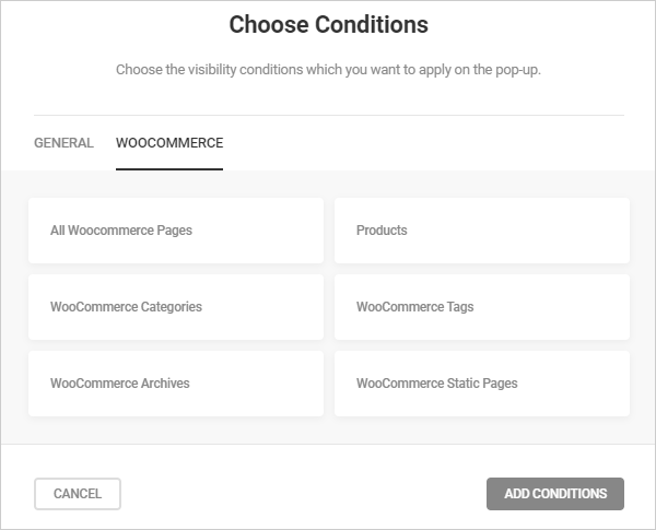 Hustle visibility conditions - WooCommerce