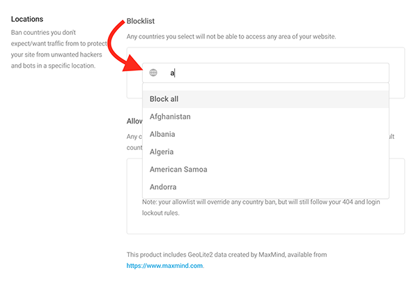 The drop-down menu of countries. Select as many as you'd like to blocklist or allowlist.